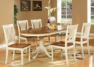 7PC OVAL DINING ROOM SET TABLE 6 CHAIRS EXTENSION LEAF