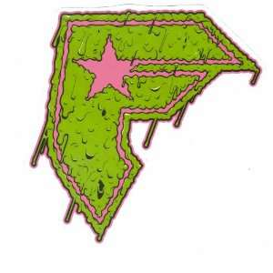Stars and Straps Famous Slime Green 5.5 Inch Die Cut Decal