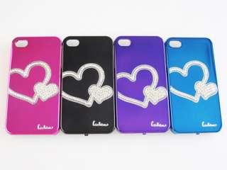 iPhone 4 4s Bling Crystal Diamond Rhinestone Love Heart Mirror card