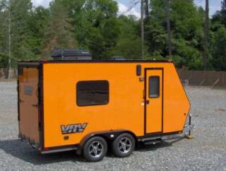 enclosed motorcycle cargo trailer toy hauler A/C work and play VRV