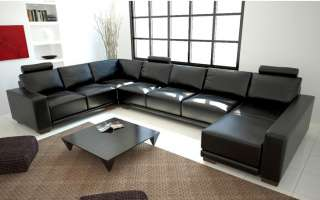 Contemporary Black Bonded Leather Sectional Sofa w/ Adjustable