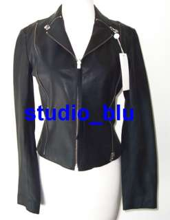 MARTIN MARGIELA MM6 Black Leather Zipper Biker Jacket 42