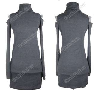 Womens Clinging Tight Fit Long Sleeve Sexy Polo Neck Cotton Casual