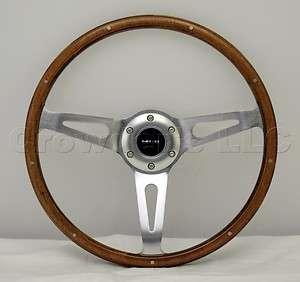 NRG Steering Wheel Classic Wood Grain Chrome Spokes 365mm Part# ST 065