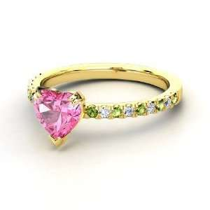 Carina Ring, Heart Pink Sapphire 18K Yellow Gold Ring with