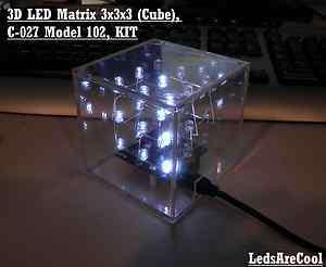 3D LED Matrix 3x3x3 (Cube), C 027 Model 102, KIT