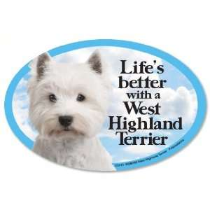 West Highland Terrier (Westie) Oval Dog Magnet for Cars