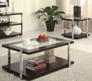 NEW 3PC TRENNOR DARK CHERRY WOOD GLASS COFFEE TABLE SET