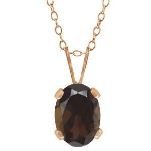 0.75 Ct Oval Shape Brown Smoky Quartz Rose Gold Plated