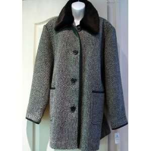 Ladies Short Winter COAT black white herringbone wool