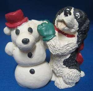 Enesco Kathy Wise Black White Cocker Spaniel Snow Dog