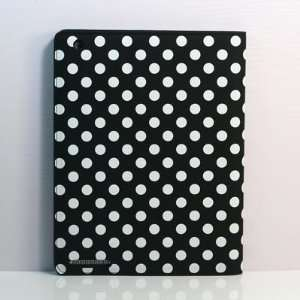 Black and White) Polka Dot Pattern leather case / Flip Stand Case for