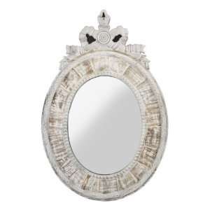 Judy French Country Oval White Wash Mirror Home & Kitchen