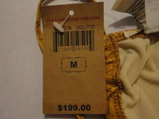 NWT Lucky Brand Old Gold Leather Perforated String Bikini Top sz