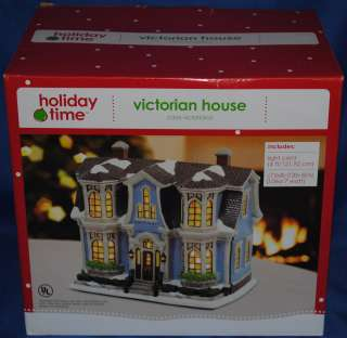 Holiday Time~Victorian House~Blue~Christmas Village~Holiday~Winter