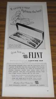 1948 VINTAGE AD~ECKO FLINT STAINLESS VANADIUM CARVING SET