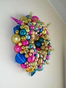 Ornament Wreath Shiny Brite Poland Pink Gold Aqua 4957 Blue