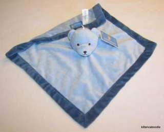 Tiddliwinks Lt./Dark Blue Bear Plush Baby Security Blanket Velour