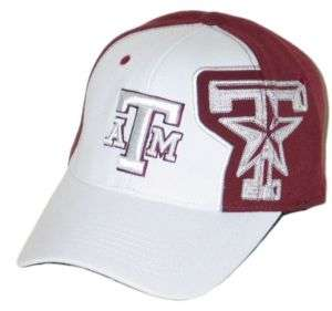 TEXAS A&M AGGIES WINGMAN WHITE FLEX FIT HAT/CAP M/L NEW