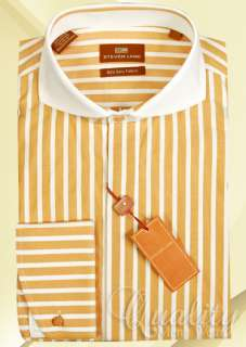 Steven Land Dress Shirt Gold 20 36/37 White Windsor Collar Thick