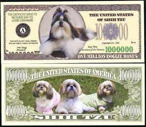SHIH TZU DOG MILLION NOVELTY DOLLAR   Lot of 2 Bills