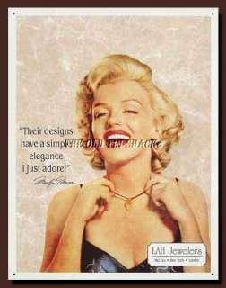 Metal Sign   Marilyn Monroe LAH Jewelers Hollywood Fashion #649