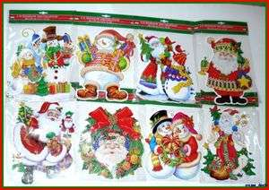 Die Cut Window Cling Decoration W/ Suction Cup Lot Of 8 NEW