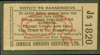 Jamaica Omnibus Services Ltd bus ticket 6d undated