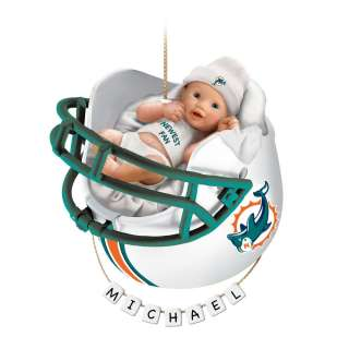 Miami Dolphins Personalized Babys First Christmas Ornament