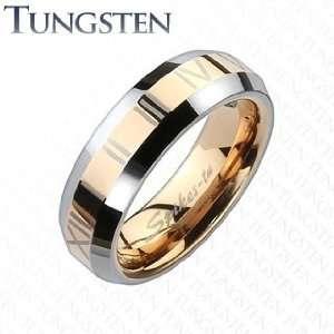 Tungsten Carbide Rose Gold IP Center with Roman Numerals