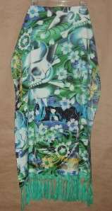 Ed Hardy Awesome Green & Blue Tattoo Print Wrap Scarf Pashmina