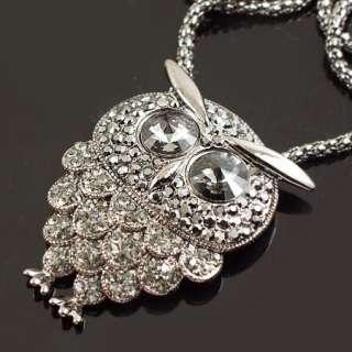 Alloy chain Swarovski Crystal owl Pendant Necklace 29 inch a1075