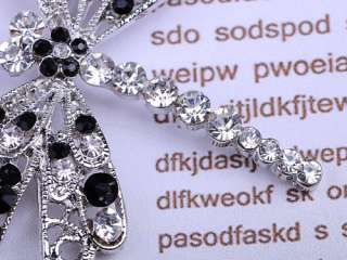 Mod Black White Crystal Rhinestone Filigree Fly Wing Dragonfly Insect