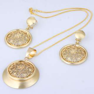 Gold Plated Cricle Pendant W/ Hollow Flower Necklace Dangle Earring