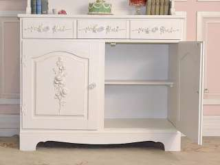 8472   Shabby White Display Hutch China Cabinet