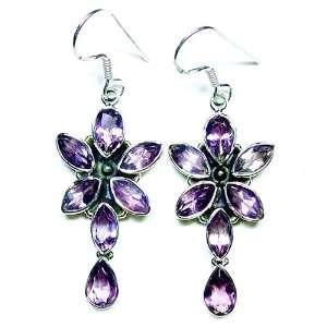 Silver Natural 14ct. Amethyst Star Flower Dangle Earrings Jewelry