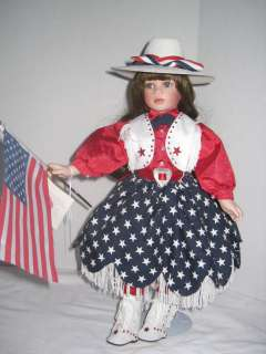 American Flag Cowgirl Music Box Paradise Galleries Doll Porcelain 18