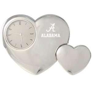 Alabama Crimson Tide Silver Tone Double Heart Clock