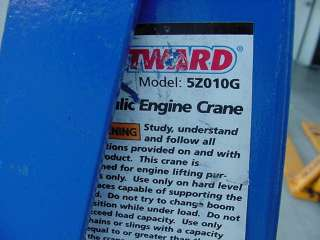 Mobile shop crane Engine hoist Westward 5Z010 3/4 ton