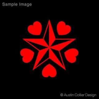 NAUTICAL STAR w/ HEARTS Vinyl Decal Car Truck Sticker