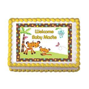 FISHER PRICE ABC SAFARI ANIMALS BABY SHOWER Edible Party Cake Topper