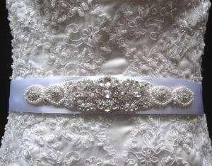 Bridal Dress Beaded Jeweled Crystal Belt Embellishment