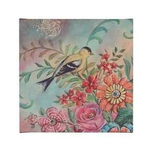 Yellow Bird Flower Floral Wall Art French Style