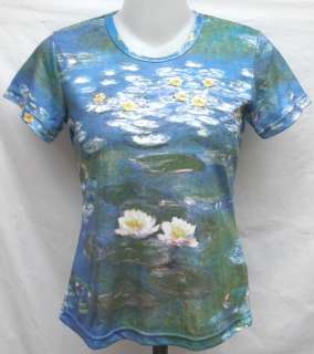 Claude Monet Water Lily ART Women T Shirt Top Sz M, SS1018