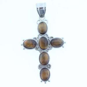 Pendants   Tiger Eye Oval Inlay Cross On Silver Plated Base Metal