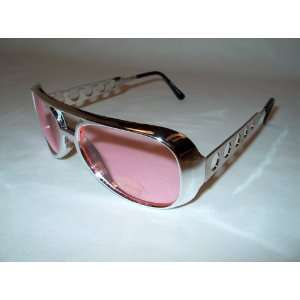 ELVIS PINK AVIATOR SUNGLASSES SILVER FRAMES: Everything