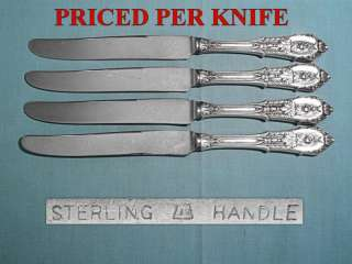 WALLACE STERLING PLACE KNIVES ~ ROSE POINT ~ NO MONO