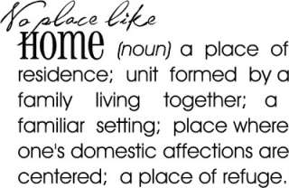 No Place Like Home Wall Words Sticker Vinyl Decal Quote