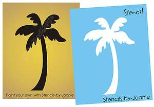 STENCIL Palm Tree Hawaii Tropical Home Decor Nautical Tiki Tattoo Wall