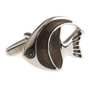 Silver Brown Angelfish Saltwater Fish Ocean Reef Cufflinks